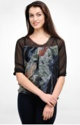 Color Cocktail Abstract Print Top
