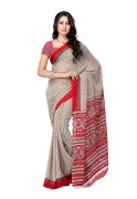 PetraFab Red & White Colored Georgette Printed Saree