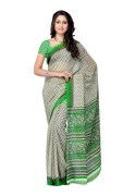 PetraFab White & Green Colored Georgette Printed Saree
