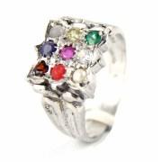 Silver Bijoux SBMR0005 Navarathna Ring