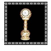 Gold Embossed Marble Pillar Table Clock