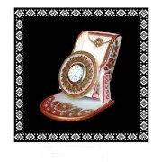 Designer Gold Embossed Mobile Stand With Watch