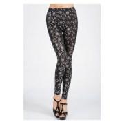 Nitein-NI79386-Black-Silver Sunflower Print Leggings
