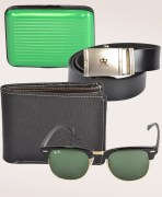 Oval Sunglasses + Leather Belt  + Leather Wallet + Card Holder