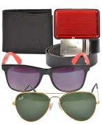 Imported Aviator, Wayfarer Sunglasses, Card Holder & Wallet Combo