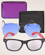 Aviator Sunglasses + Wayfarer Sunglasses + Card Holder + Wallet Combo