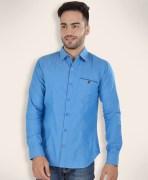 Barryline London Baby Blue Plain Casual Shirt