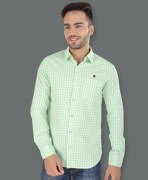 Barryline London White & Light Green Checked Causal Shirt