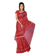 Jheel Red Colour Supernet Sarees