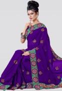 Triveni Embroidered Chiffon Saree