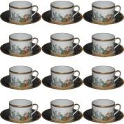 Bernardaud Limoges Set of 12 Cups and Saucers Metropoles