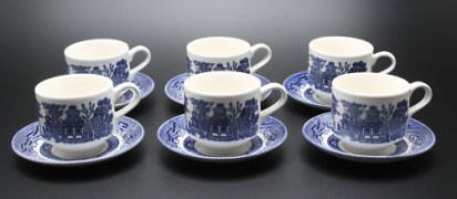 Set of 6 Aesthetic Transferware Cup and Saucer Set