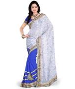Fashion Founder Embroidered Faux Georgette Saree with Blouse Piece