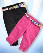 Black - Fuchsia Capri & Belt Combo For Girls