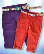 Girls Red & Purple Capri Combo With Belt