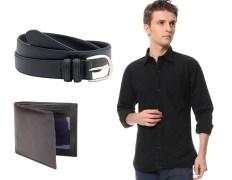 Zion Zdc-145 Men's Black Shirt With Belt & Wallet