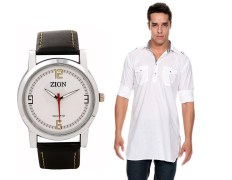 Zion Zdc-141 White Pathani Kurta & Men's Watch Combo