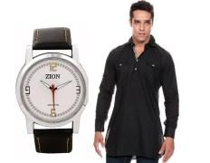 Zion Zdc-142 Black Pathani Kurta & Men's Watch Combo