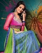 Pink with Green color Salwar Kameez