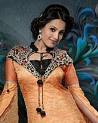 Redish Orange with golden color Salwar Kameez