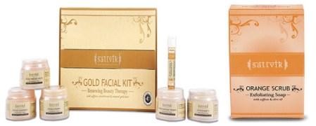 Sattvik Organics Gold Facial Kit & Orange Scrub Combo