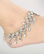 Silver Tone Kundan Payal Anklets Pair