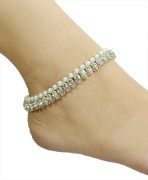 Cristal Pearl Silver Anklets Payal Pair