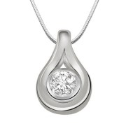 "Surat Diamond Inside The Hill Real Diamond & Sterling Silver Pendant with 16"" Chain (SDP163)"