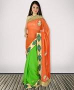 Orange & Green Chiffon Saree