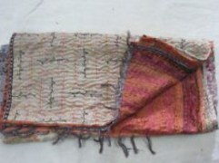 Vintage Hand Stitched  Indian Cotton Throw Shawl