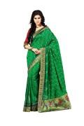 Ashika-2243-Raw Silk Green Saree