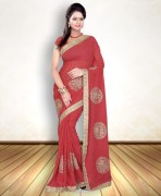 Rose Red Chiffon Saree With Padded Blouse