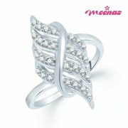 Meenaz-Fr131_16- Sublime Rhodium Plated Cz Finger Ring