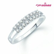 Meenaz-Fr132_7- Double Row Rhodium Plated Cz Finger Ring