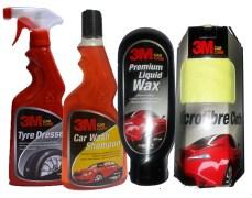 Combo 3M - Car Shampoo+ Tyre Dresser+ Liquid Wax+ Microfiber Cloth