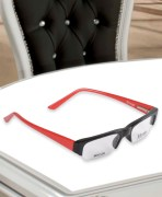 Monex Black & Red Half Rim Sunglasses