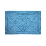 Sculpted Anti Skid Cotton Bathmat Blue