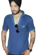 Blue Cotton T-Shirt For Men