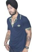 Dark Blue Cotton T-Shirt For Men