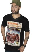 Black T-shirt with a 3D print. For Men