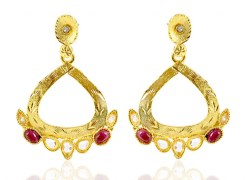 Kshitij Jewels-KJ 037-Semi Traditional Gold Plated  Earring
