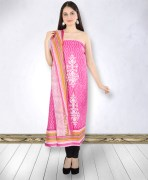 Pink Cotton Printed Unstitched Suit