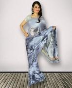 Grey Georgette Digital Printed Saree