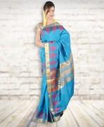 Kollam Blue Silk Saree