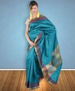 Kollam Turquoise Green Silk Saree