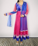 Blue And Magenta Embroidered Designer Anarkali Semi Stitched Suits
