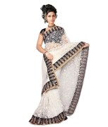 Bollywood Fashion Zone White Net Embroidered Saree