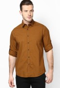 Wills Lifestyle Brown Casual Shirt