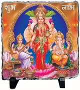 Tiedribbons Blue And Red Ceramic Murti Ganesh Saraswati Laxmi Shubh Labh With Easel Stand