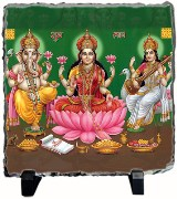 Tiedribbons Green And Pink Wood,plastic Murti Ganesh Saraswati Laxmi Shubh Diwali Stone With Easel Stand